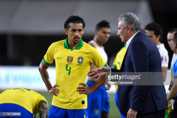 Brazil head coach Adenor Bacchi talks with Marquinhos in the 2019 International Champions Cup match against Peru on September 10, 2019 at Los Angeles...