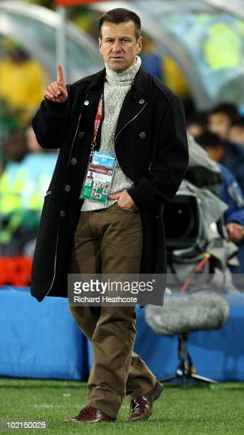 Brazil Head Coach, Dunga gives instructions during the 2010 FIFA World Cup South Africa Group G match between Brazil and North Korea at Ellis Park...