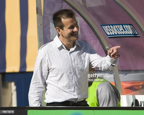 Brazil head coach Dunga looks on during an international friendly match between Brazil and the US Men's National Team at Soldier Field on September...