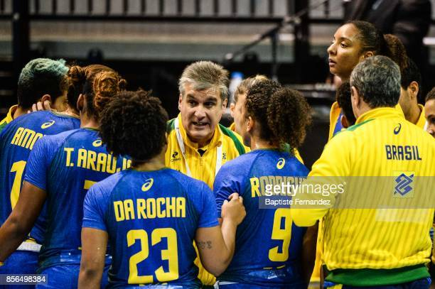 Brazil head coach Jorge Duenas during the handball women's international friendly match between France and Brazil on October 1 2017 in...
