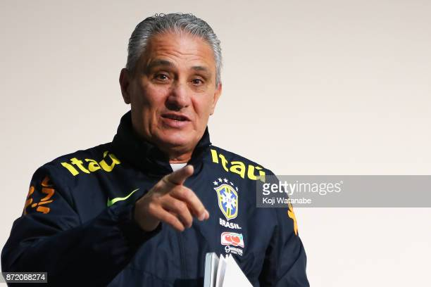 Brazil head coach of Tite attends a press conference a Brazil training session ahead of the international friendly against Japan on November 9 2017...