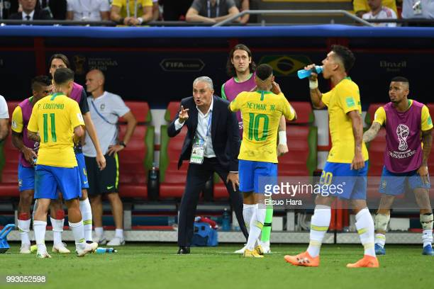 Brazil head coach Tite gives instruction to his players during the 2018 FIFA World Cup Russia Quarter Final match between Winner Game 53 and Winner...