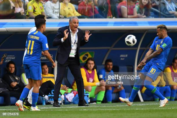 Brazil head coach Tite reacts during the 2018 FIFA World Cup Russia group E match between Brazil and Costa Rica at Saint Petersburg Stadium on June...