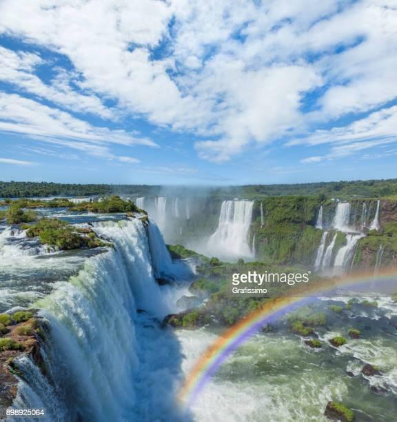Brazil Iguacu Falls with rainbow