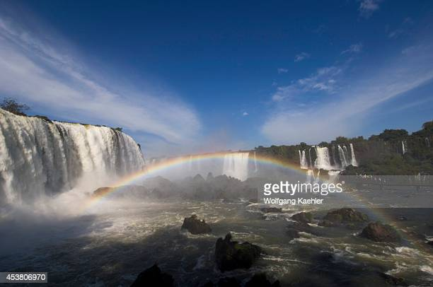 Brazil Iguassu National Park Iguassu Falls At Devils Throat Rainbow