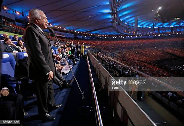 Brazil interim President Michel Temer opens the 2016 Summer Olympics during the opening ceremony in Rio de Janeiro Brazil Friday Aug 5 2016