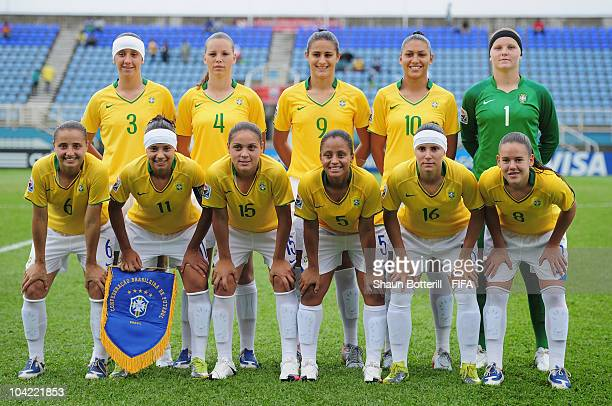 Brazil lineup before the FIFA U17 Women's World Cup Quarter Final match between Spain and Brazil at the Ato Boldon Stadium on September 17 2010 in...