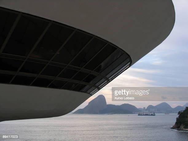 Brazil. MAC. Contemporary Art Museum in Niteroi. Designed by Oscar Niemeyer Architect