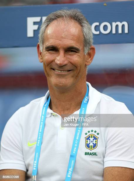 Brazil manager Carlos Amadeu looks on during the FIFA U17 World Cup India 2017 group D match between Brazil and Spain at Jawaharlal Nehru...