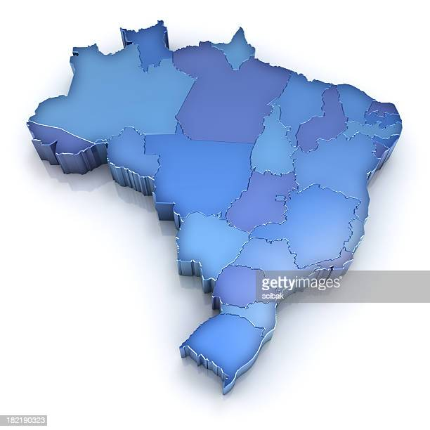 brazil map with states - brazil stock pictures, royalty-free photos & images