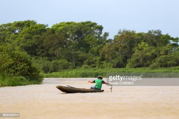 Brazil Mato Grosso Pantanal area fisherman on the river Cuiaba