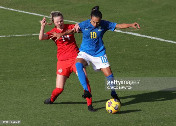 Brazil midfielder and team captain Marta maneuvers with the ball away from defender Gabrielle Carle of Canada during their SheBelieves Cup...