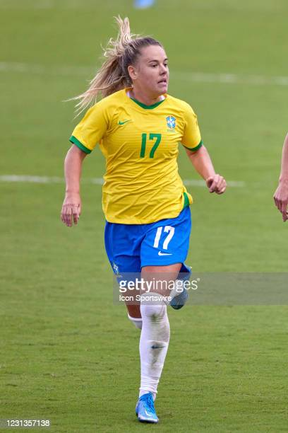 Brazil midfielder Andressinha runs in action during a SheBelieves Cup game between Brazil and the United States on February 21, 2021 at Exploria...