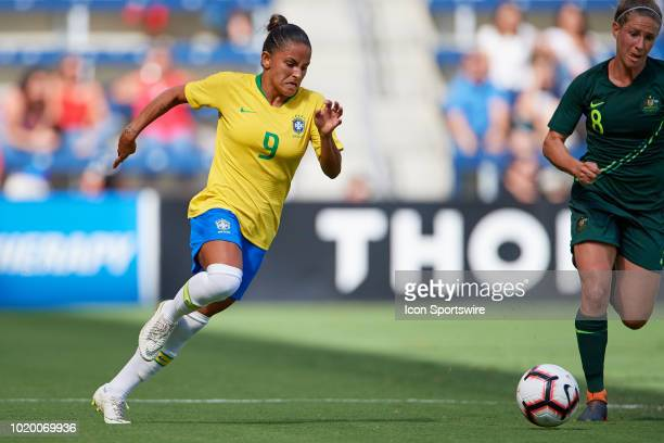 Brazil midfielder Debinaha chases the ball in game action during a Tournament of Nations match between Brazil vs Australia on July 26 2018 at...