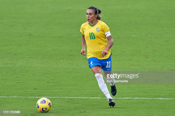 Brazil midfielder Marta dribbles the ball in action during a SheBelieves Cup game between Brazil and Argentina on February 18, 2021 at Exploria...