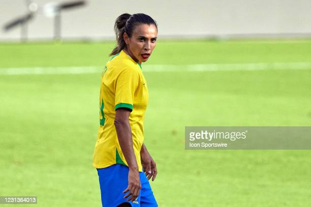 Brazil midfielder Marta looks on in action during a SheBelieves Cup game between Brazil and the United States on February 21, 2021 at Exploria...