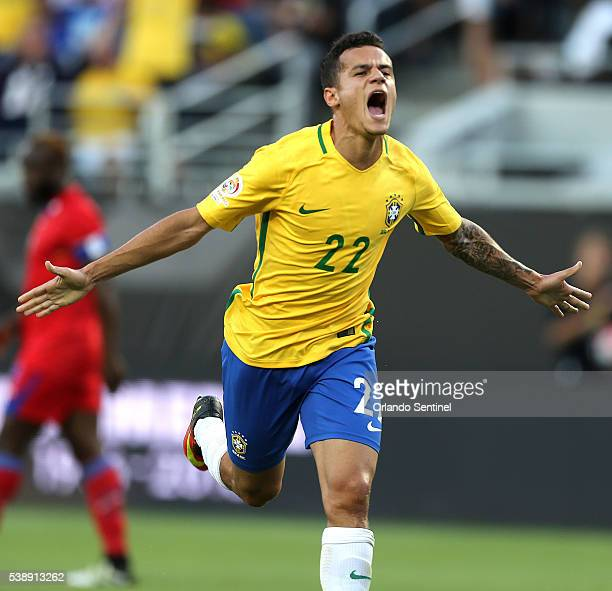 Brazil midfielder Phillipe Coutinho celebrates making his first goal against Haiti in Copa America group stage action at Camping World Stadium in...