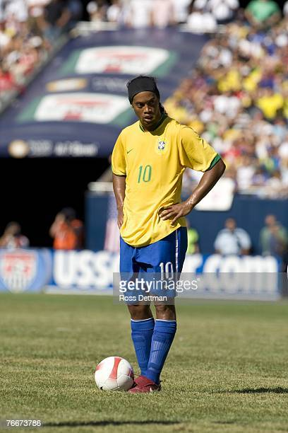Brazil midfielder Ronaldinho waits to kick the ball during an international friendly match between Brazil and the US Men's National Team at Soldier...