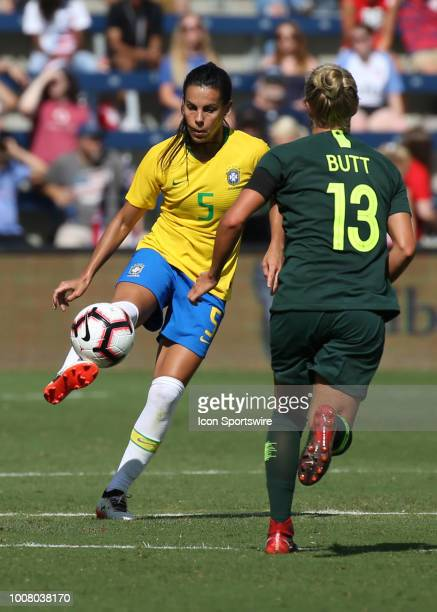 Brazil midfielder Thaisa clears a ball in the second half of a women's soccer match between Brazil and Australia in the 2018 Tournament of Nations on...