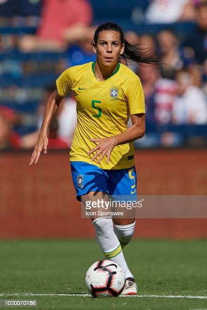Brazil midfielder Thaisa dribbles the ball in game action during a Tournament of Nations match between Brazil vs Australia on July 26 2018 at...