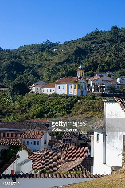 Brazil, Minas Gerais, Colonial Town Of Ouro Preto , Church Of Our Lady Of Mercy And Mercy In Background.