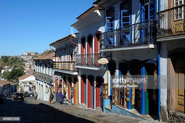 Brazil, Minas Gerais, Colonial Town Of Ouro Preto , Street Scene, Cobblestone Streets.