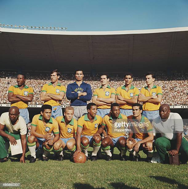 Brazil national football squad including Djalma Santos Garrincha and Pele posed in 1965 prior to the team's game with Czechoslovakia