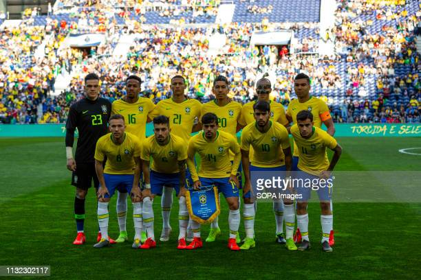 Brazil National football team line up seen during the friendly football match between Brazil and Panama for the Brazil Global Tour at Dragon Stadium...