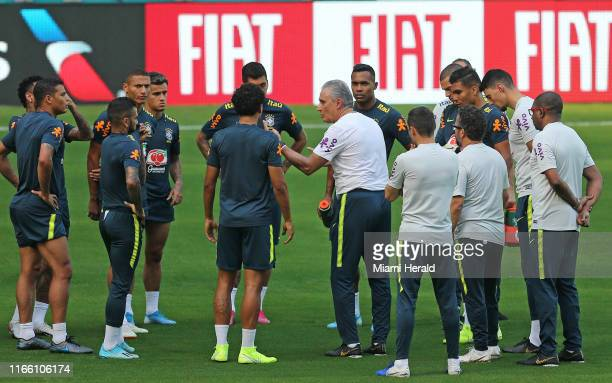 Brazil national soccer coach Tite gives instructions to his team during practice on Thursday, Sept. 5 at Hard Rock Stadium in Miami Gardens, Fla., in...