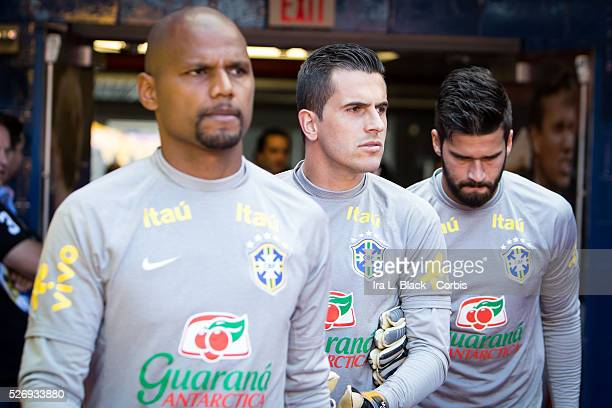 Brazil national team goalkeepers Jefferson Marcelo Grohe and Alisson during the Soccer 2015 Brazil National Team vs Costa Rica on September 5th 2015...
