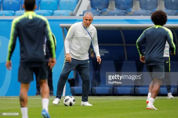Brazil national team head coach Tite during a Brazil national team training session during the FIFA World Cup 2018 on June 21 2018 at Saint...