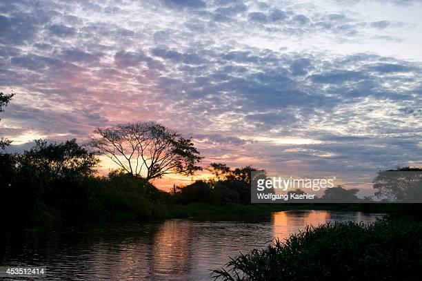 Brazil, Northern Pantanal, Sunset At Cuiaba River.