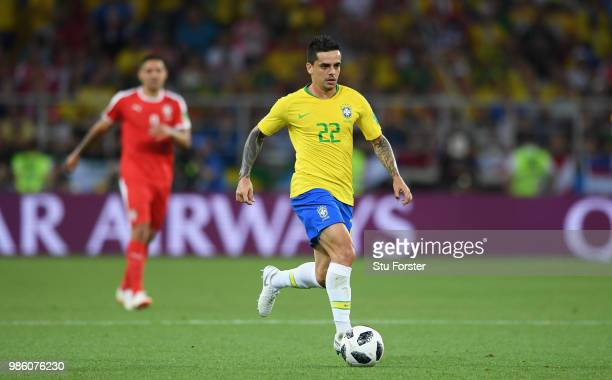 Brazil player Fagner in action during the 2018 FIFA World Cup Russia group E match between Serbia and Brazil at Spartak Stadium on June 27 2018 in...