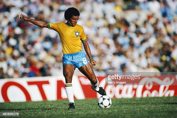 Brazil player Jnior in action during the Copa De Oro match between Argentina and Brazil on January 4 1981 in Montevideo Uruguay
