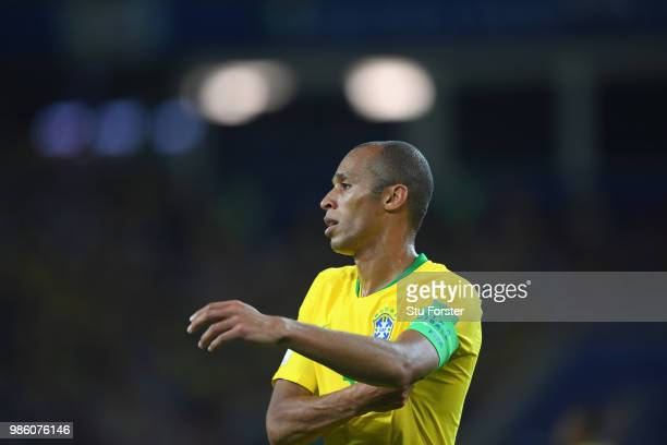 Brazil player Miranda looks on during the 2018 FIFA World Cup Russia group E match between Serbia and Brazil at Spartak Stadium on June 27 2018 in...