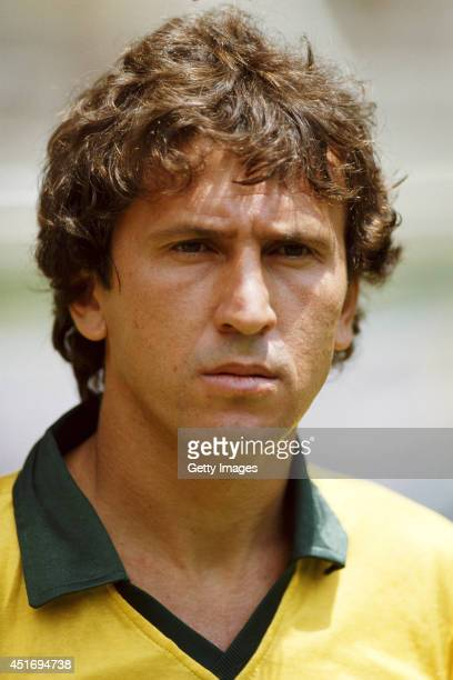 Brazil player Zico looks on before the Mexico 1986 World Cup second round match between Brazil and Poland at the Jalisco stadium on June 16 1986 in...