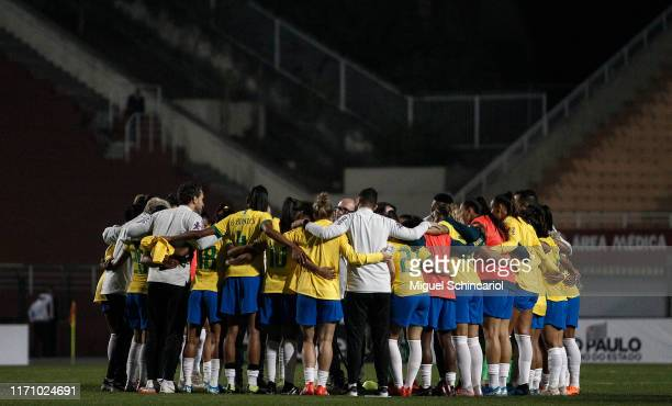 Brazil players celebrate after winning a match between Argentina and Brazil part of Uber International Cup 2019 at Pacaembu Stadium on August 29,...