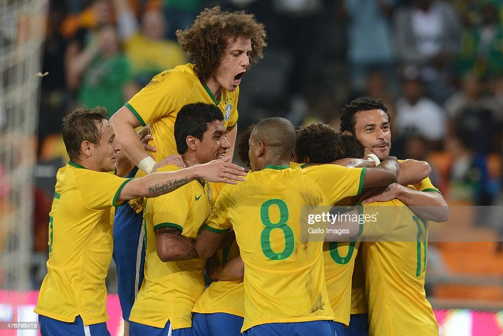 Brazil players celebrate during the International Friendly match between South Africa and Brazil at FNB Stadium on March 05, 2014 in Johannesburg, South Africa.
