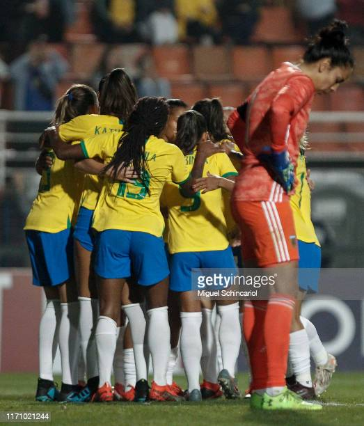 Brazil players celebrate the fourth goal of their team scored by Erika during a match between Argentina and Brazil part of Uber International Cup...