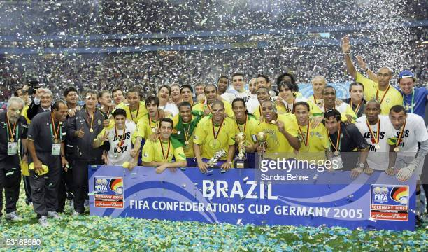 Brazil players celebrate victory following the FIFA 2005 Confederations Cup Final between Brazil and Argentina at the Waldstadion on June 29 in...