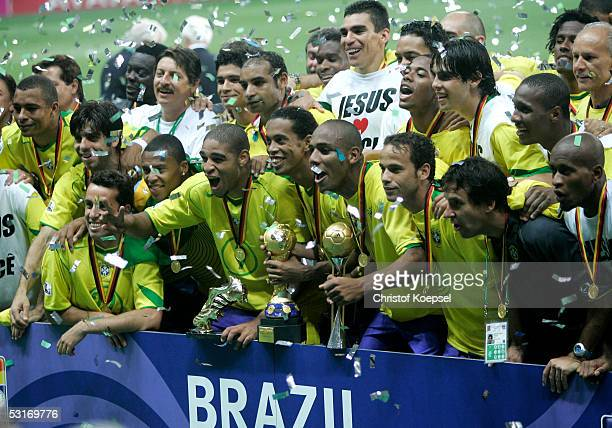 Brazil players celebrate victory following the FIFA 2005 Confederations Cup Final between Brazil and Argentina on June 29 2005 at the Waldstadion in...