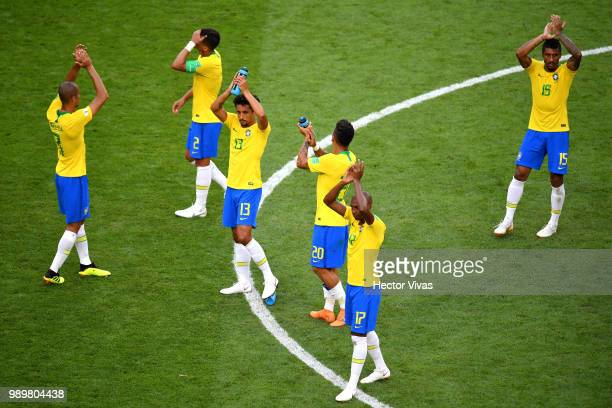 Brazil players celebrates acknowledge the fans following the 2018 FIFA World Cup Russia Round of 16 match between Brazil and Mexico at Samara Arena...