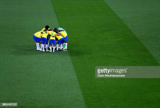 brazil players form a huddle prior to the 2018 FIFA World Cup Russia group E match between Serbia and Brazil at Spartak Stadium on June 27 2018 in...