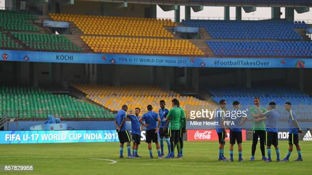 Brazil players inspect the Jawaharlal Nehru International Stadium ahead of the FIFA U17 World Cup India 2017 tournament at on October 5 2017 in Kochi...