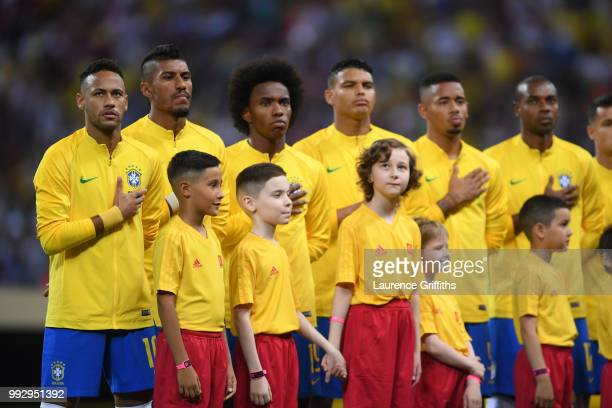 Brazil players line up for their national anthem ahead of the 2018 FIFA World Cup Russia Quarter Final match between Brazil and Belgium at Kazan...