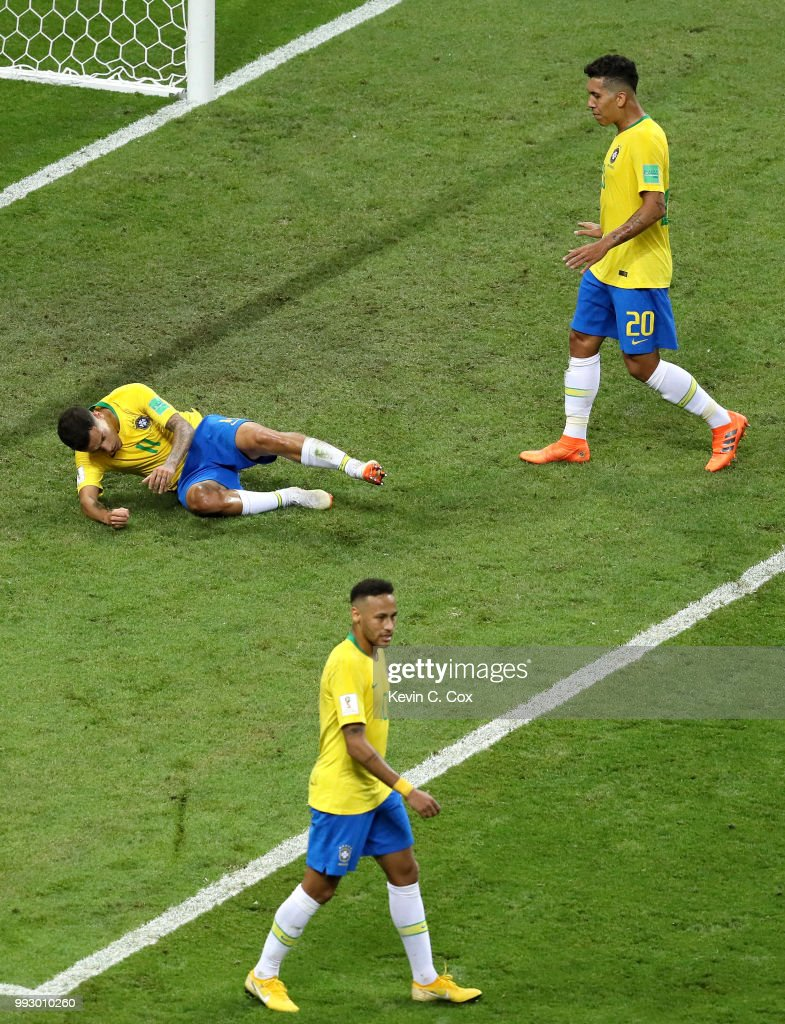 Brazil players react during the 2018 FIFA World Cup Russia Quarter Final match between Brazil and Belgium at Kazan Arena on July 6, 2018 in Kazan, Russia.
