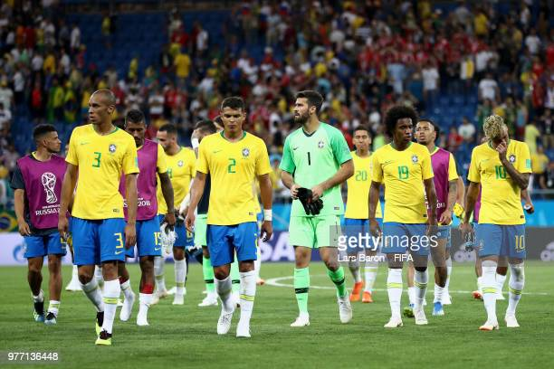 Brazil players walk off the pitch following the 2018 FIFA World Cup Russia group E match between Brazil and Switzerland at Rostov Arena on June 17...