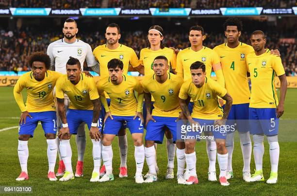 Brazil pose during the Brazil Global Tour match between Brazil and Argentina at Melbourne Cricket Ground on June 9 2017 in Melbourne Australia