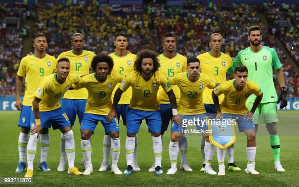 Brazil pose for a photograph during the 2018 FIFA World Cup Russia Quarter Final match between Brazil and Belgium at Kazan Arena on July 6 2018 in...