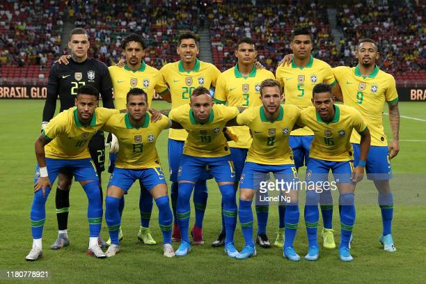 Brazil pose for a team photo before the international friendly match between Brazil and Nigeria at the Singapore National Stadium on October 13, 2019...